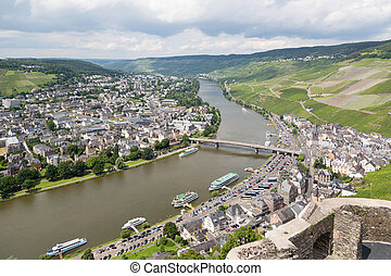Aerial view of BernKastel-Kues at the river Moselle in...