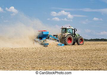trator, semear, máquina, trabalhando, campo