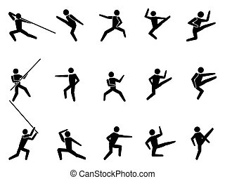 martial arts symbol people icons - isolated martial arts...