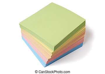 lot sheets of colour paper for record isolated