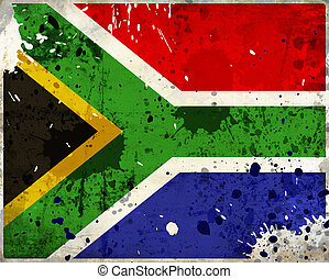 Grunge South Africa flag with stains - flag series