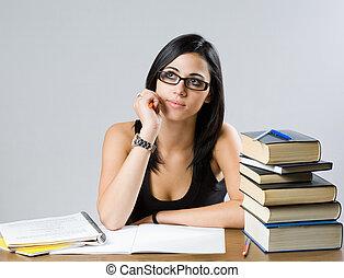 Pretty brunette student girl. - Portrait of a pretty...