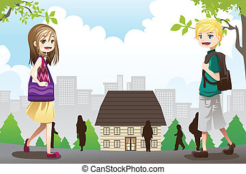 Kids going to school - A vector illustration of kids going...
