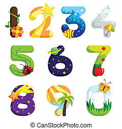 Numbers set - A vector illustration of a set of numbers in...