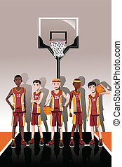 Basketball team players - A vector illustration of a team of...