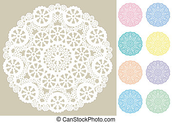 Lace Doily Place Mats, Snowflakes - Snowflake design lace...