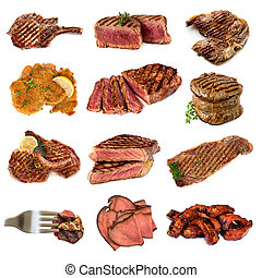 Meat Collection over White - Collection of cooked meat...