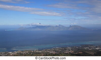 Moorea from above - View high above from Tahiti to Moorea...