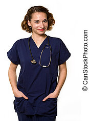 Friendly nurse - Attractive young brunette woman health care...
