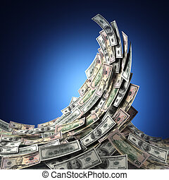 Money Wave - Money concept showing a wave of US dollar bills