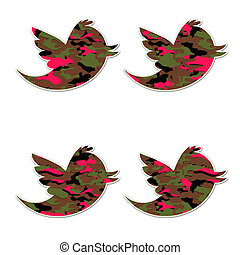 Camo Girl Birds - bird icons or badges