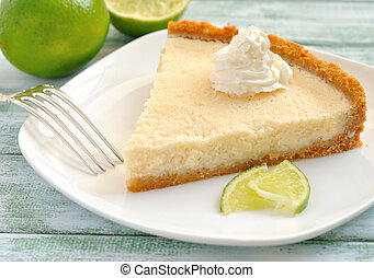 lime tart on a white table