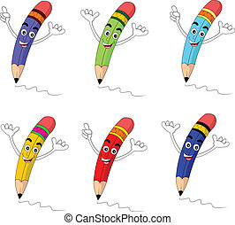 funny cartoon pencil set