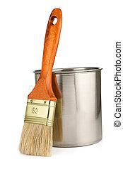 paint bucket and paintbrush isolated on white background