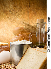 set of bakery products on table on texture