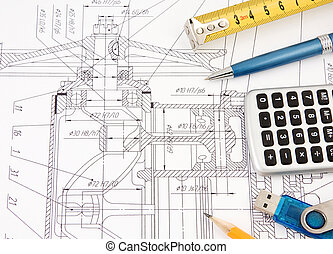 pen and tape measure on drafting - pen, flash memory and...