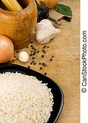 nutrition and rice at wood - set of nutrition and rice at...