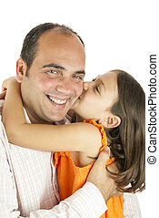 Daughter loves daddy - girl showing her love to her father