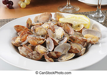 Steamed clams with parmesan cheese and lemon