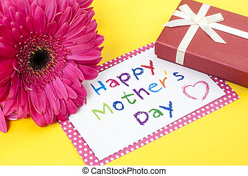 Mothers Day - Gerbera daisy, gift box and mothers day card