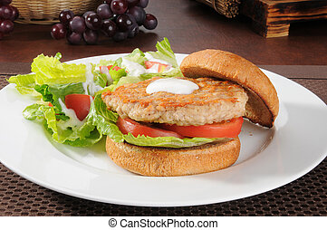 Healthy chicken or turkey burger