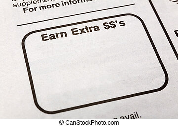 earn extra dollars - newspaper earn extra dollars ad,...