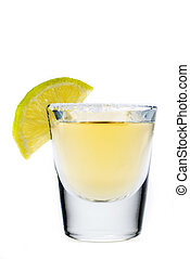 Tequila and lime on a white background