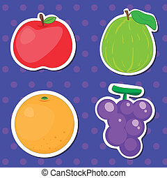 cute fruit collection01 - four cute fruits with apple,...
