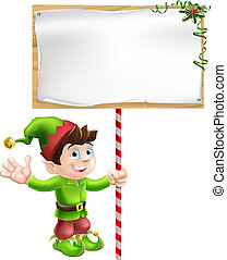Christmas elf with sign - A Christmas elf or pixie or...