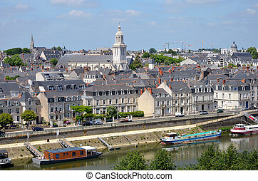 City of Angers in France - Aeriel view of the city Angers...