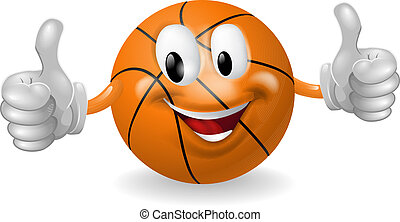 Basket Ball Mascot - Illustration of a cute happy basketball...
