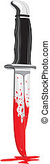 knife - crime weapon - a bloody knife and drops of blood