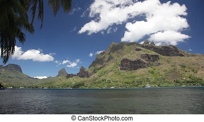 Moorea - View to Green Mountains of Moorea Island in French...