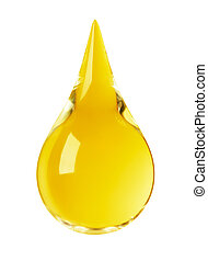 golden drop - drop of oil isolated on white background