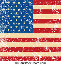 USA vintage grunge style - American retro flag - old grungy...