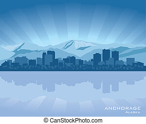 Anchorage, Alaska skyline illustration with reflection in...