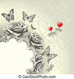 Glamour background with lacy frame, red hearts, flying...
