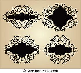 Set of vintage frames with floral o
