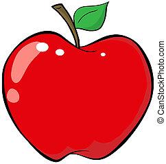 caricatura, vermelho, maçã