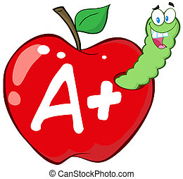 Worm In Red Apple With Letter A - Happy Worm In Red Apple...