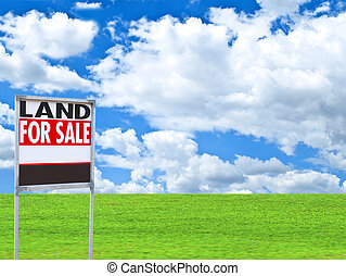"Real estate conceptual image - ""FOR SALE"" sign on empty meadow"