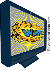 LCD Plasma TV Television Wham - Illustration of an LCD...