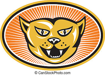 Angry Cat Head Front Retro