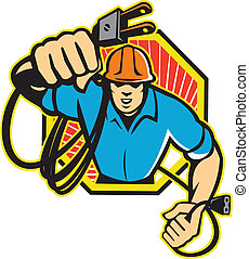 Electrician Construction Worker Retro - Illustration of an...