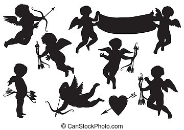 cupids collection - cute cupid silhouettes isolated on white...