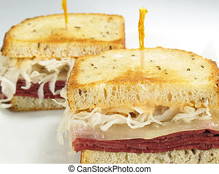 Toasted Reuben - A delicious reuben sandwich: corned beef,...