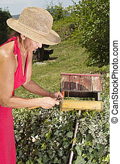 Woman repairing old bird house