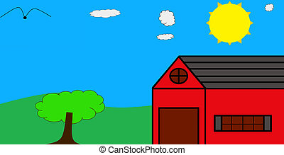 An illustration of a  red barn on a gorgeous sunny day with clouds in the sky and  a bird flying high above