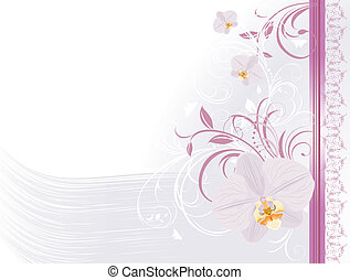 Orchids with floral ornament. Card