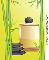 Green bamboo, stones and spa oil